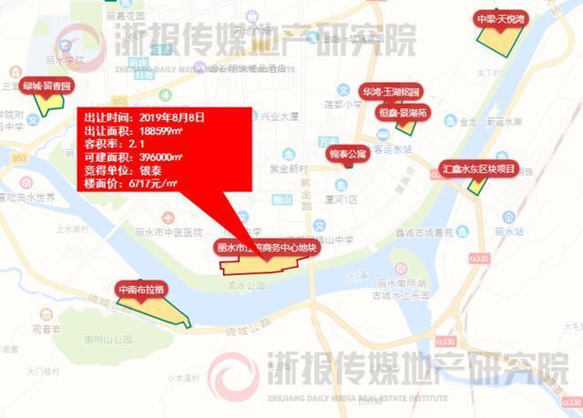 """丽水市江滨商务中心地块位置图 (来源:浙报传媒地产研究院""""决策通"""")"""